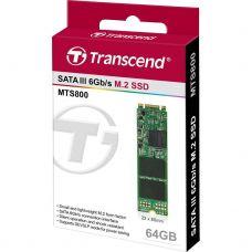 """SSD M.2 64GB Transcend """"TS64GMTS800"""" [Type 2280, 80mm, R/W:560/460MB/s, 75K/75K IOPS, SM2246EN]"""