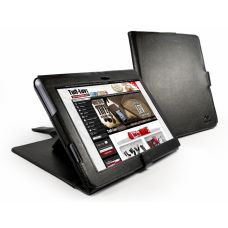 """Cover 9.4"""" Sony S1 - Tuff-Luv faux leather book-style case with integrated stand - black"""
